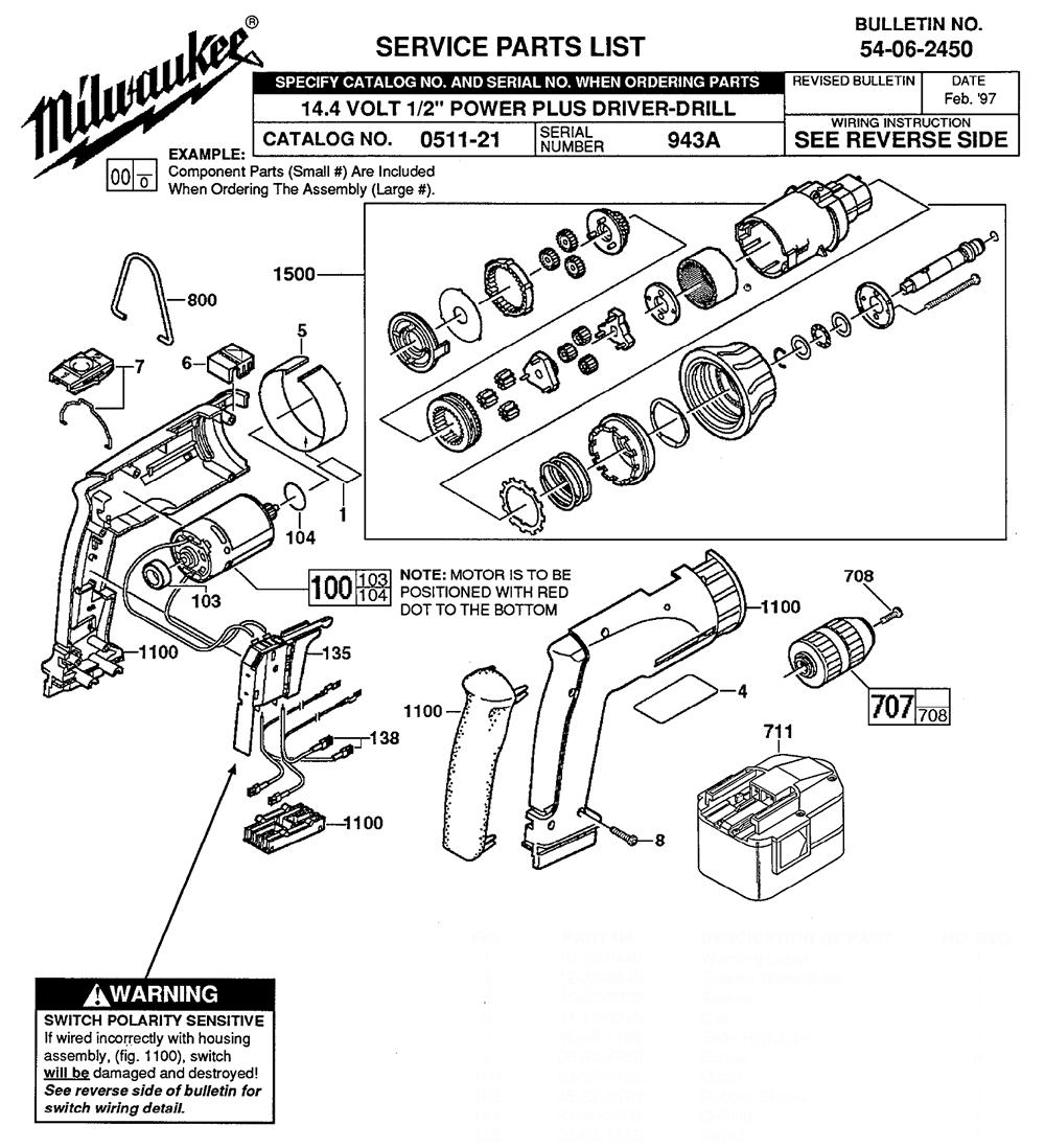 buy milwaukee 0511 2 u0026quot  power plus replacement tool parts