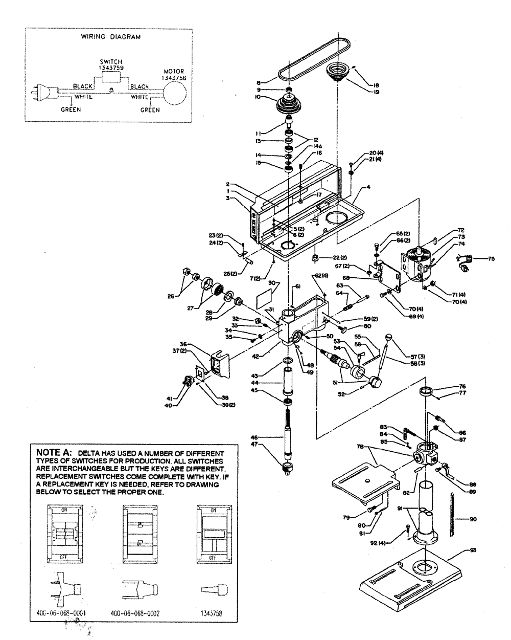 wiring diagram for delta drill press electrical