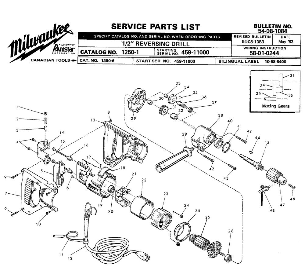 buy milwaukee 1250 2 u0026quot  reversing replacement tool parts