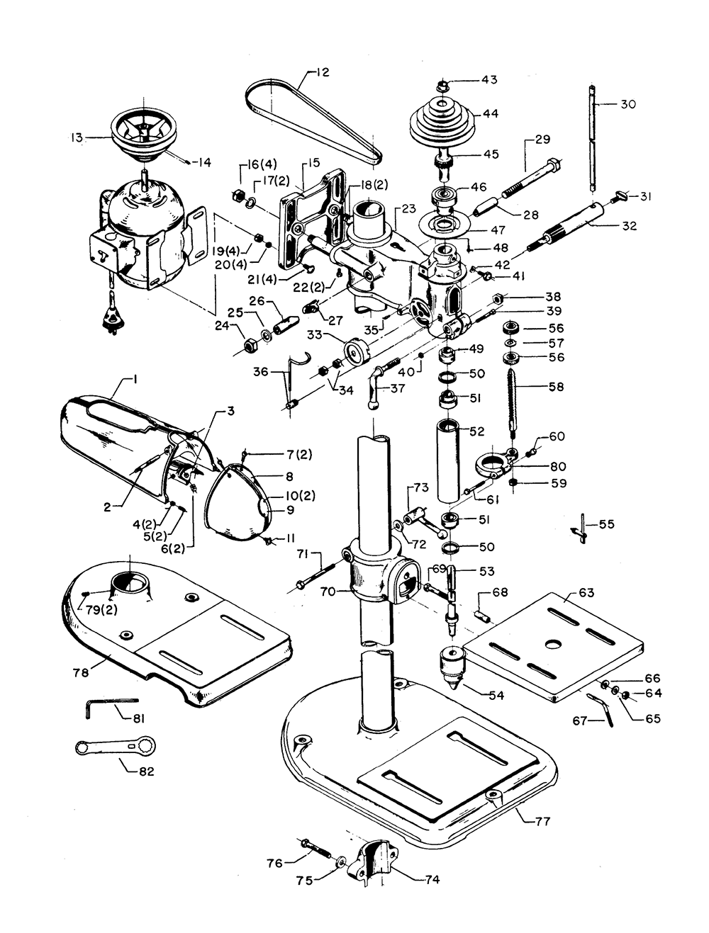 Craftsman Bench Grinder Wiring Diagram Electrical Delta Drill Press Exploded View Switch
