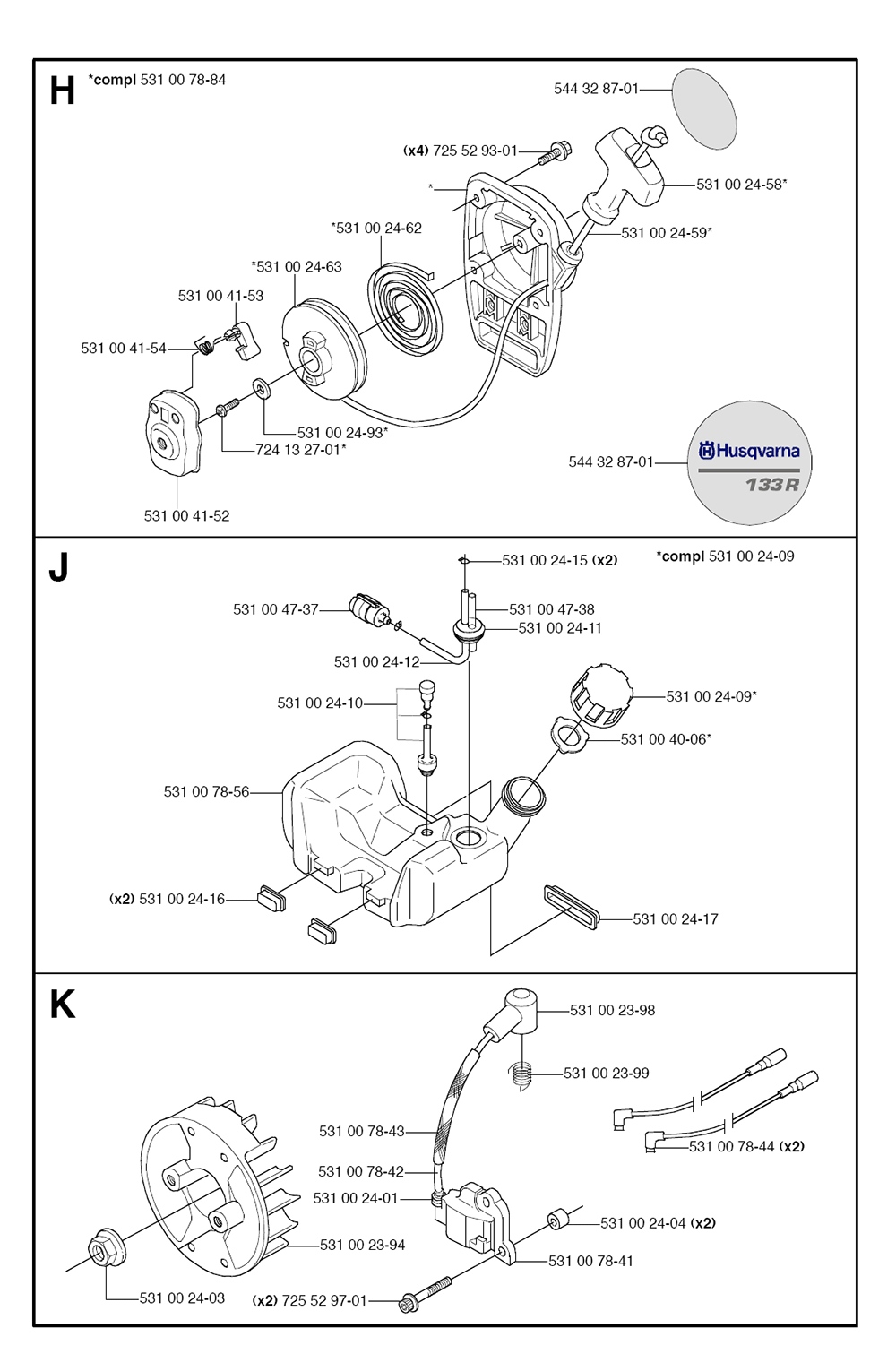 133 R-(5443299-01)-Husqvarna-PB-3Break Down