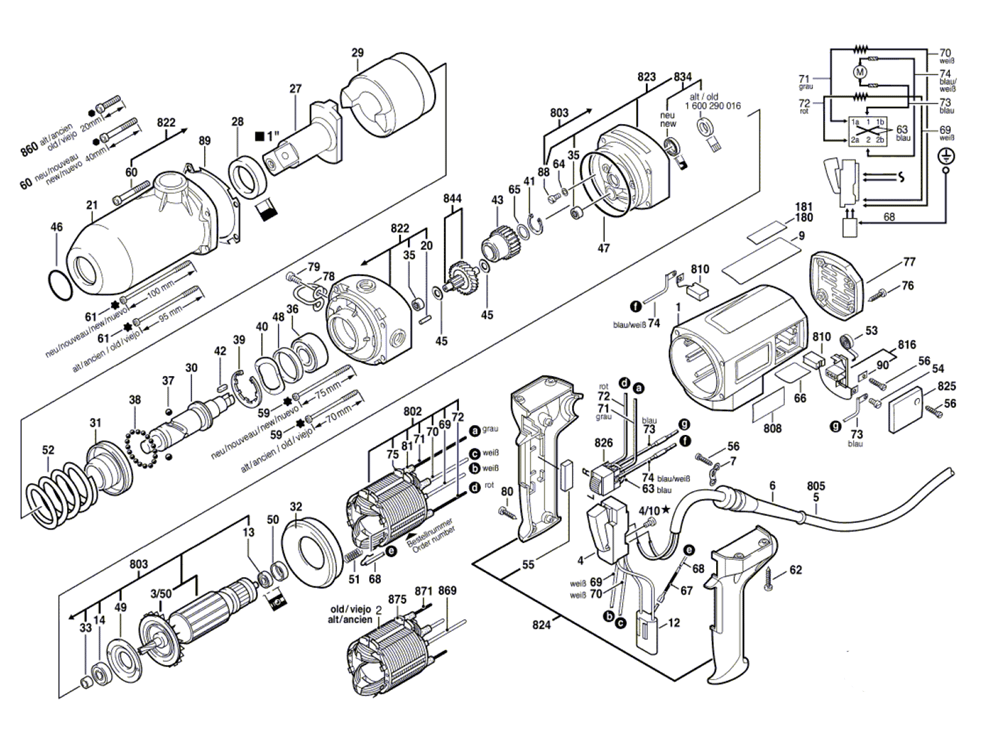 Parts | Bosch 1435R-(0601435134) Electric Impact Wrench Parts Diagram