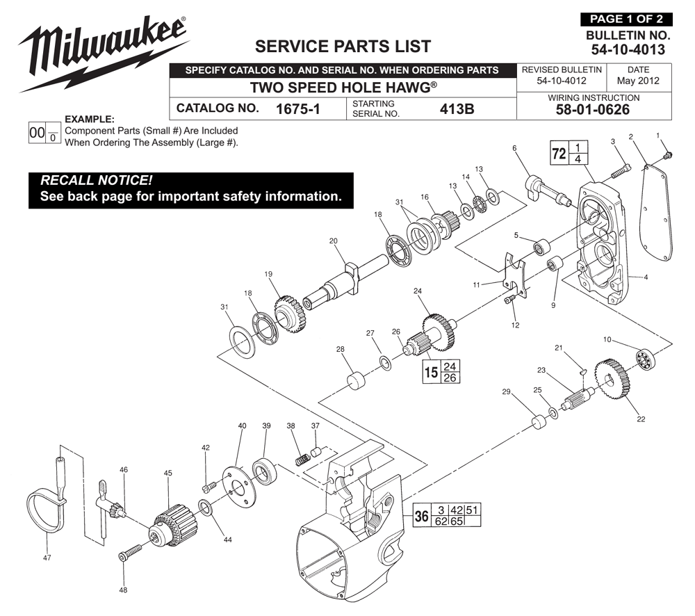 Buy Milwaukee 1675-1-(413B) two speed hole hawg Replacement Tool ...
