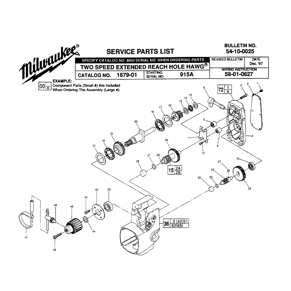 buy milwaukee 1679 1 915a two speed extended reach hawg replacement tool parts