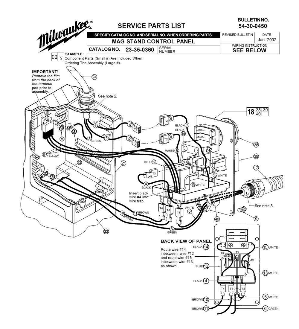 23 35 0360 Milwaukee PB milwaukee mag drill wiring diagram wiring diagram and schematic milwaukee 4202 wiring diagram at nearapp.co