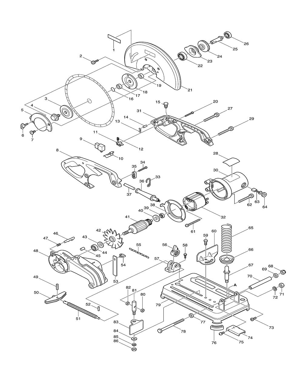buy makita 2414nb 14 inch cut replacement tool parts makita 2414nb electric saw parts diagram