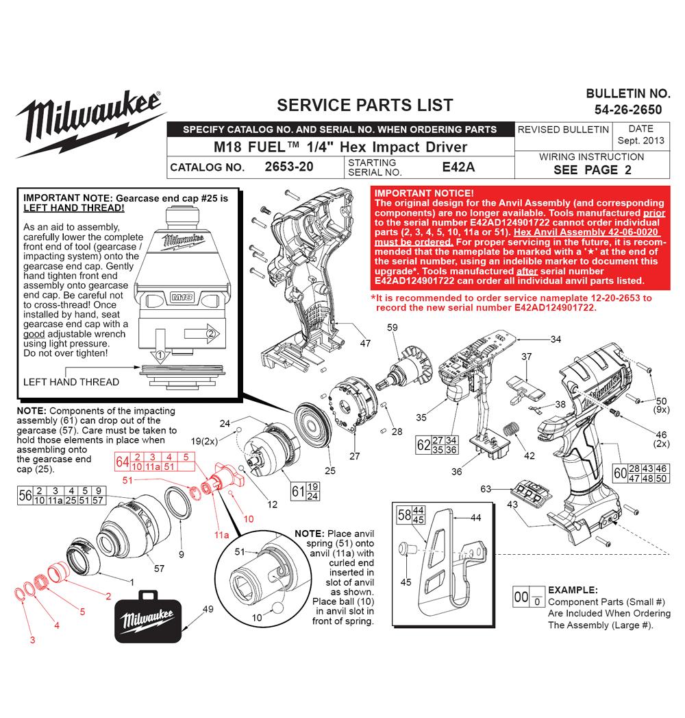 Parts | Milwaukee 2653-20(E42A) Cordless Impact Wrench Parts Diagram