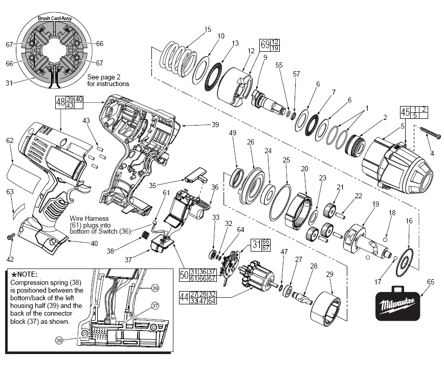 Tool Parts | Milwaukee 2663-20 Cordless Impact Wrench Parts Diagram