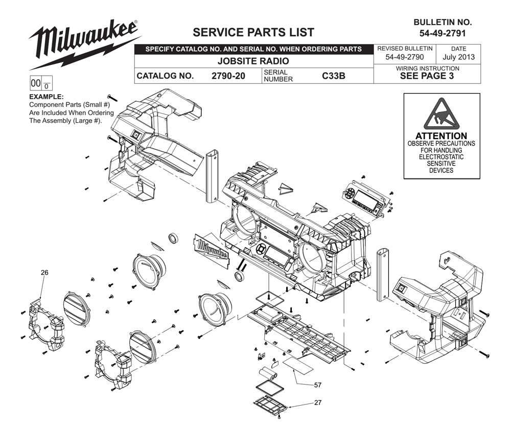 Buy Milwaukee 2790-20-(C33B) Replacement Tool Parts | Milwaukee ...