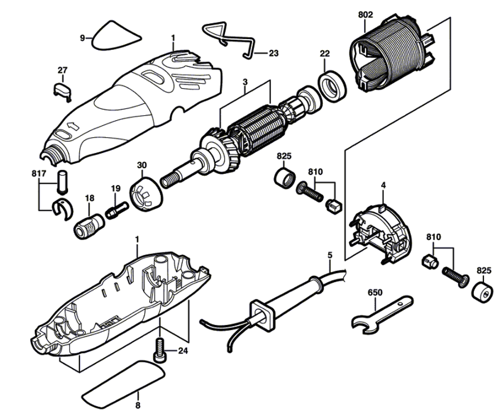 buy dremel 300 (f013030000) replacement tool parts ... multi amp wiring diagram #2