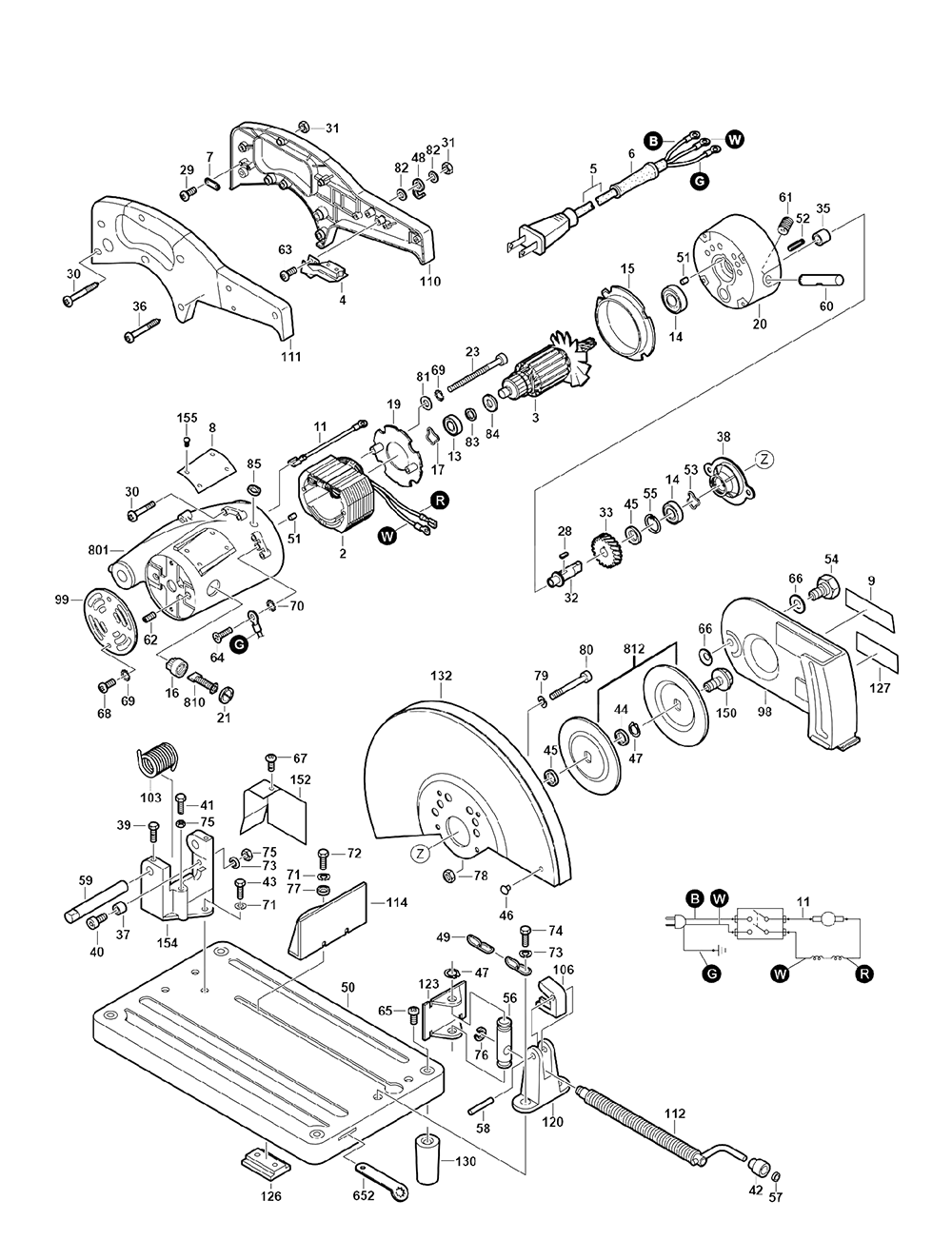 Unit Parts Diagram And Parts List For Skil Sawparts Model Hd77