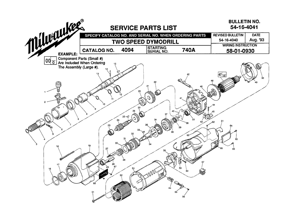 Milwaukee 4094 (740A) Parts on Electric Drill Schematic Diagram