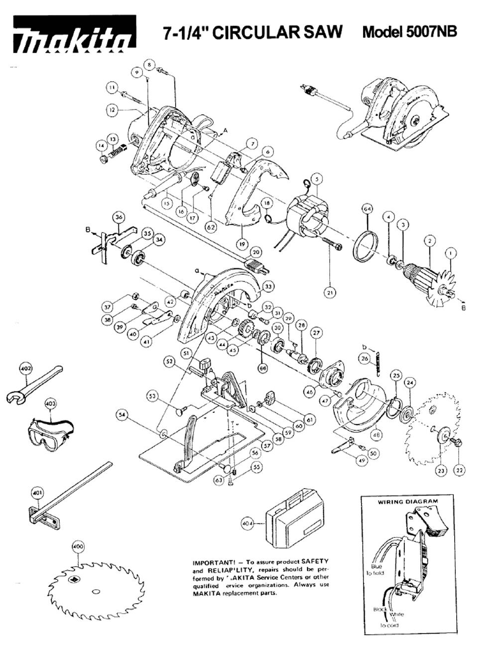 Buy Makita 5007nb Replacement Tool Parts