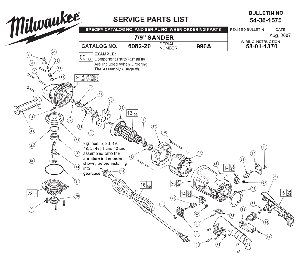 milwaukee 1675 1 parts list and diagram