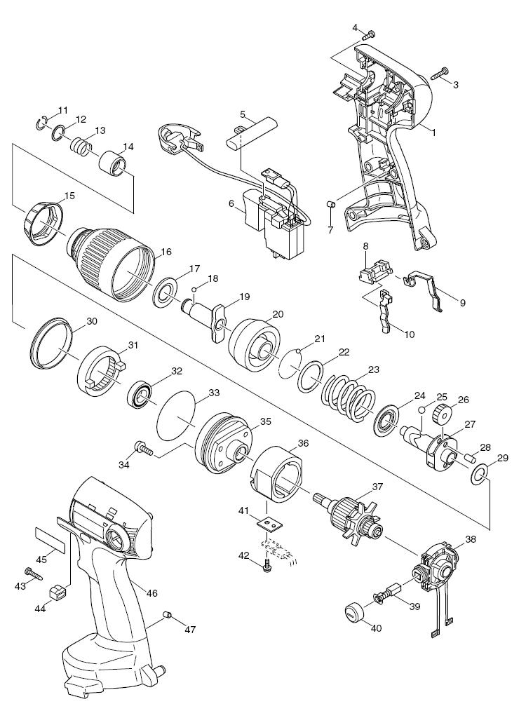 Parts   Makita 6980FDWDE Cordless Impact Wrench & Driver Parts Diagram
