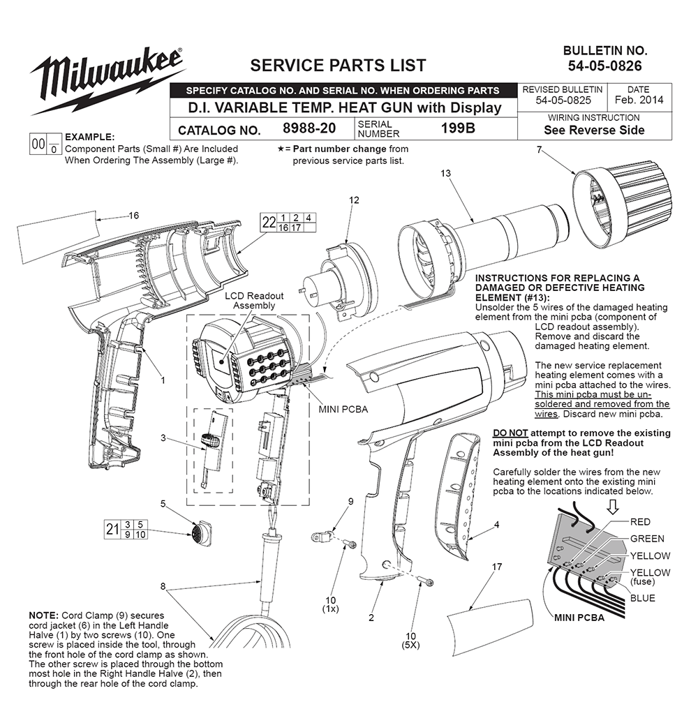 buy milwaukee 8988 20 199b replacement tool parts milwaukee milwaukee 8988 20 199b parts schematic