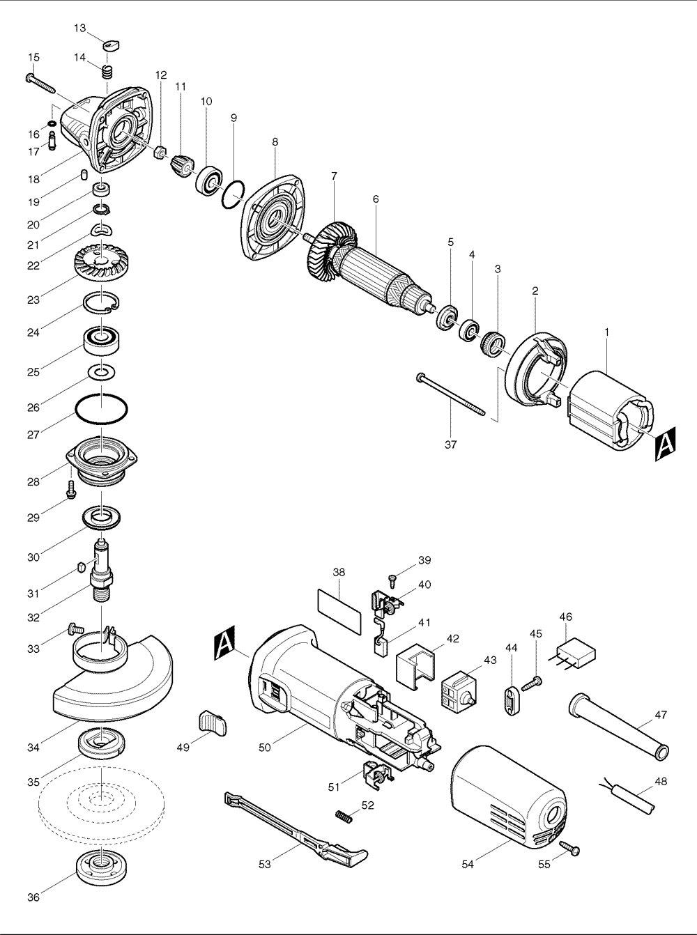 3 phase grinder wiring diagram mini grinder wiring diagram buy makita 9557nb 7.5 amp 4-1/2 inch angle (ac/dc ...