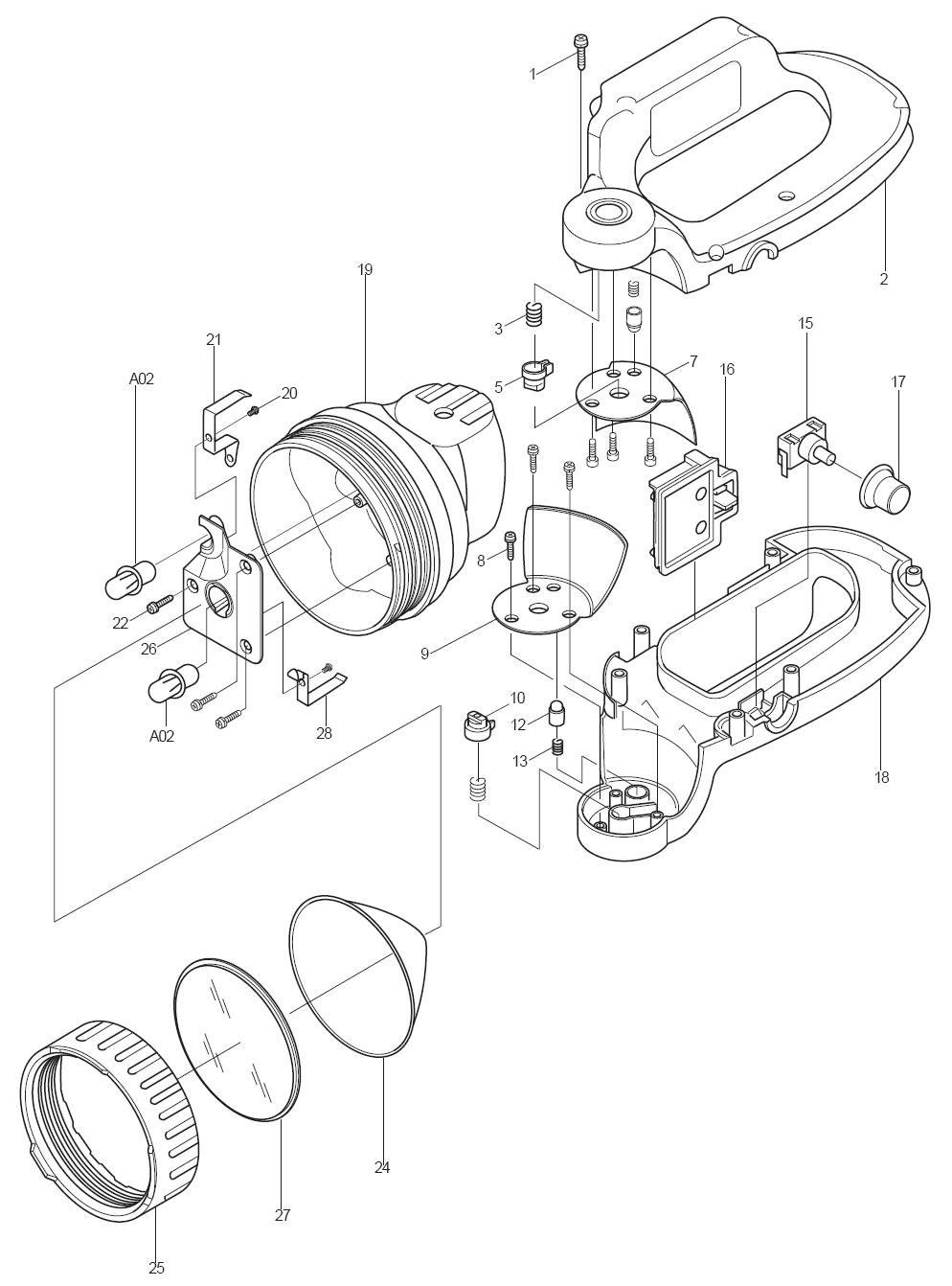 de walt flashlight diagram de walt tool parts diagrams
