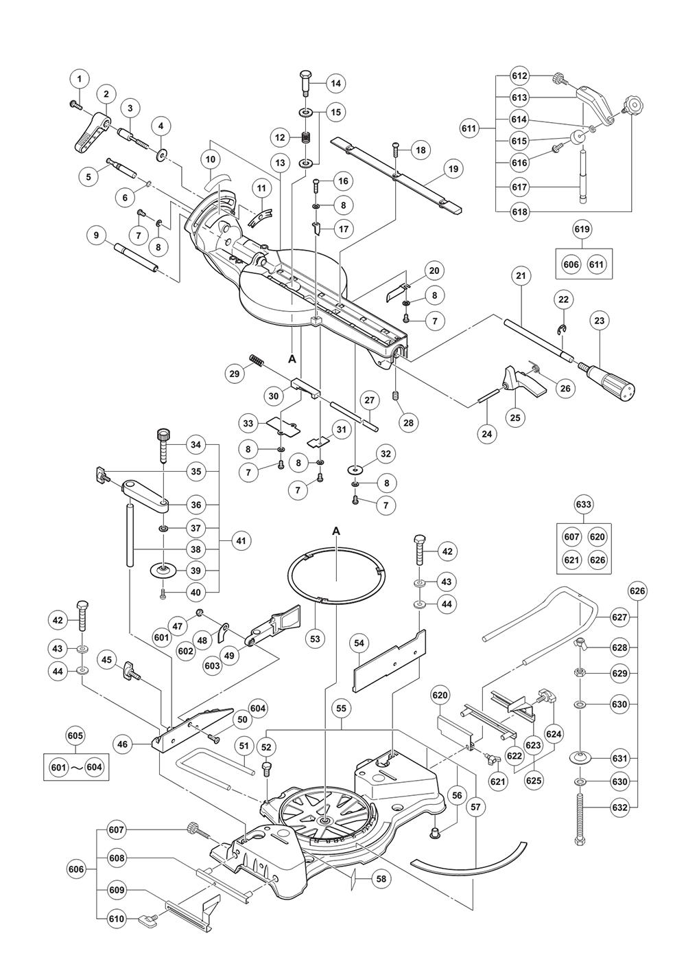 buy hitachi c8fse 8 1 2 inch sliding compound miter replacement hitachi c8fse parts schematic