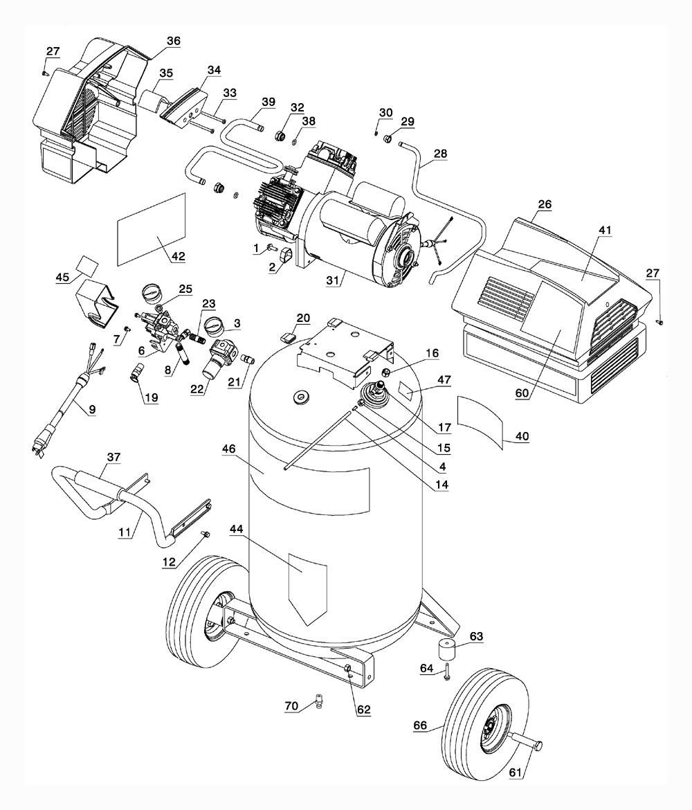 pancake air compressor parts diagram