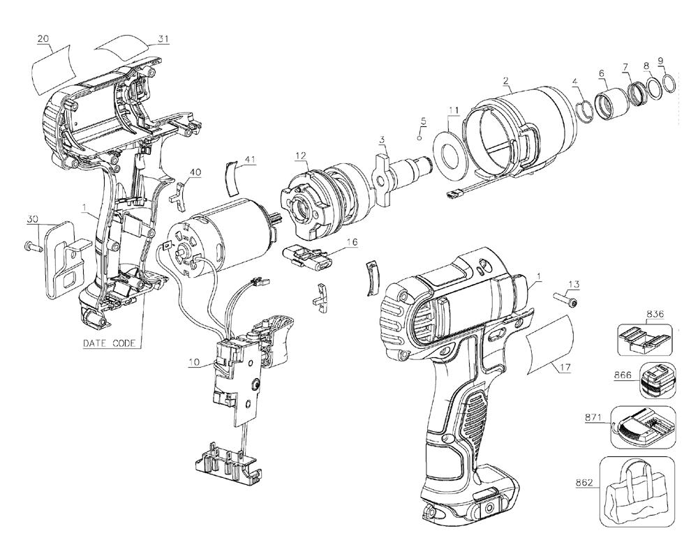 Parts | Dewalt DCF815S2 Type-4 Cordless Impact Wrench Parts Diagram
