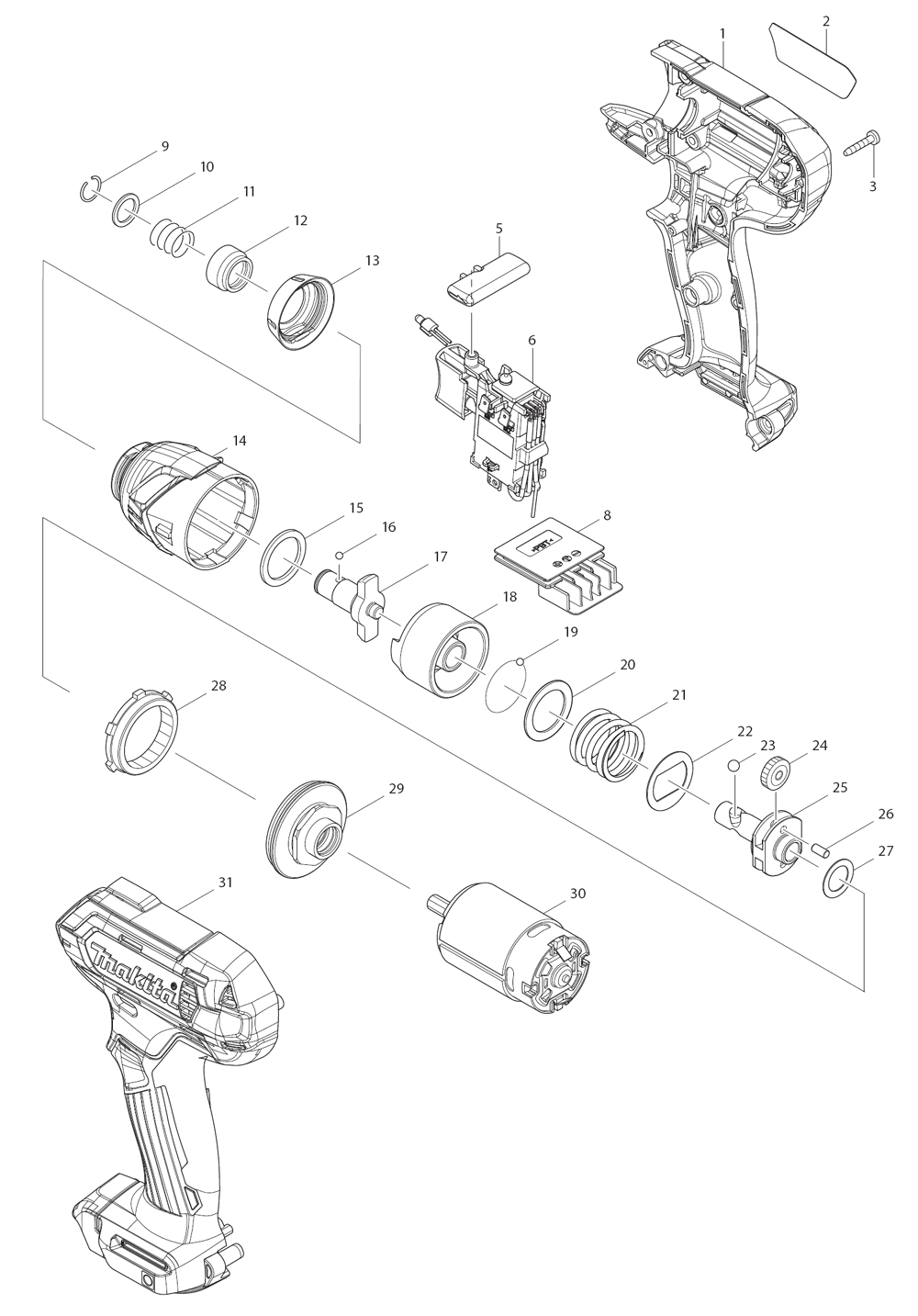 Replacement Tool Parts | Skil 2238 Type-1 Impact Wrench Parts Diagram