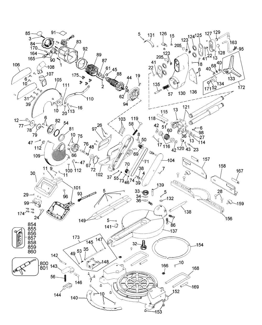 dewalt dw708 parts list and diagram dw305 de walt cordless