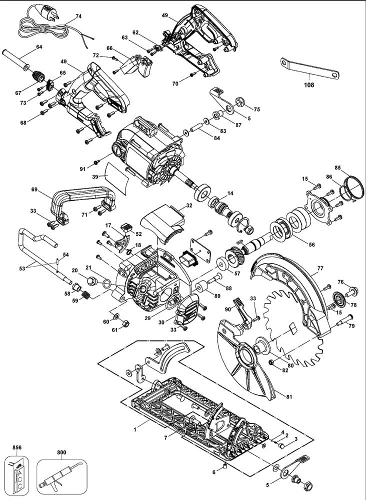DeWalt-DWS535T-Type-1-Parts-1463-PBBreak Down