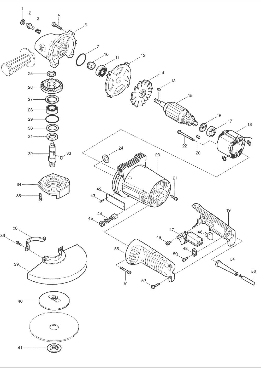 buy makita ga7911 7 9 inch ac dc angle grinder replacement tool makita ga7911 parts schematic