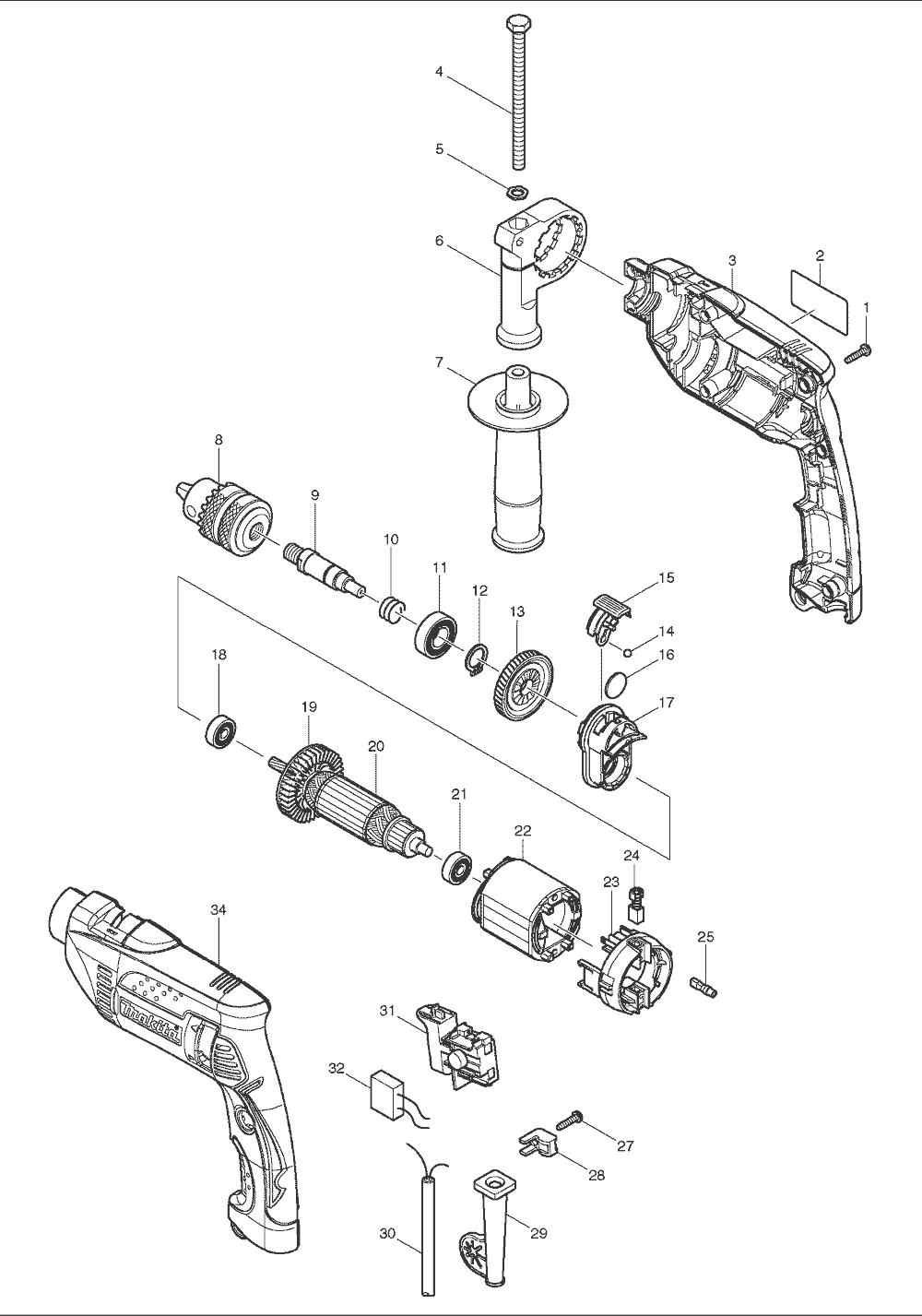 buy makita hp1640 5  8 inch replacement tool parts