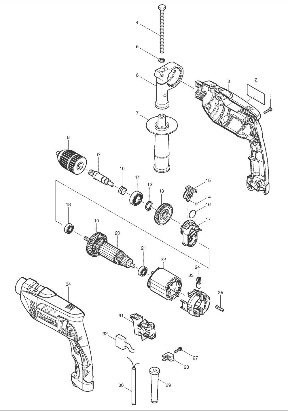 buy makita hp1641 replacement tool parts