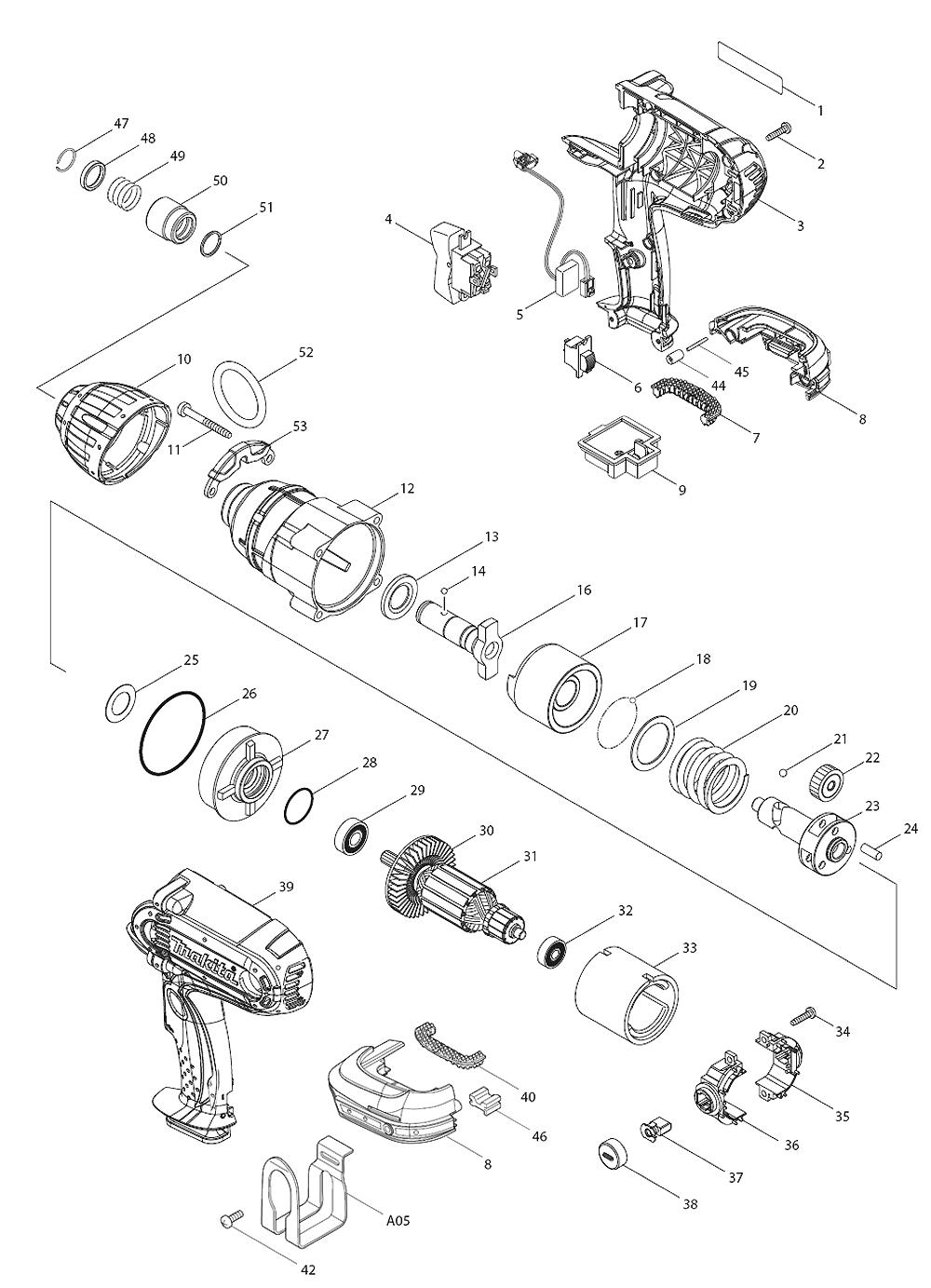 Parts | Makita LXWT01 Cordless Impact Wrench & Driver Parts Diagram
