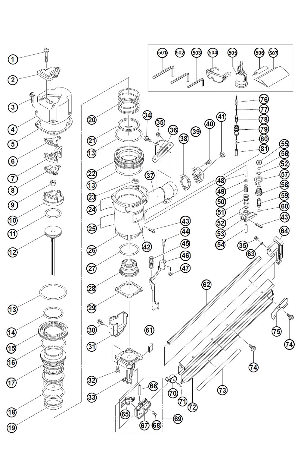 Hitachi framing nailer parts