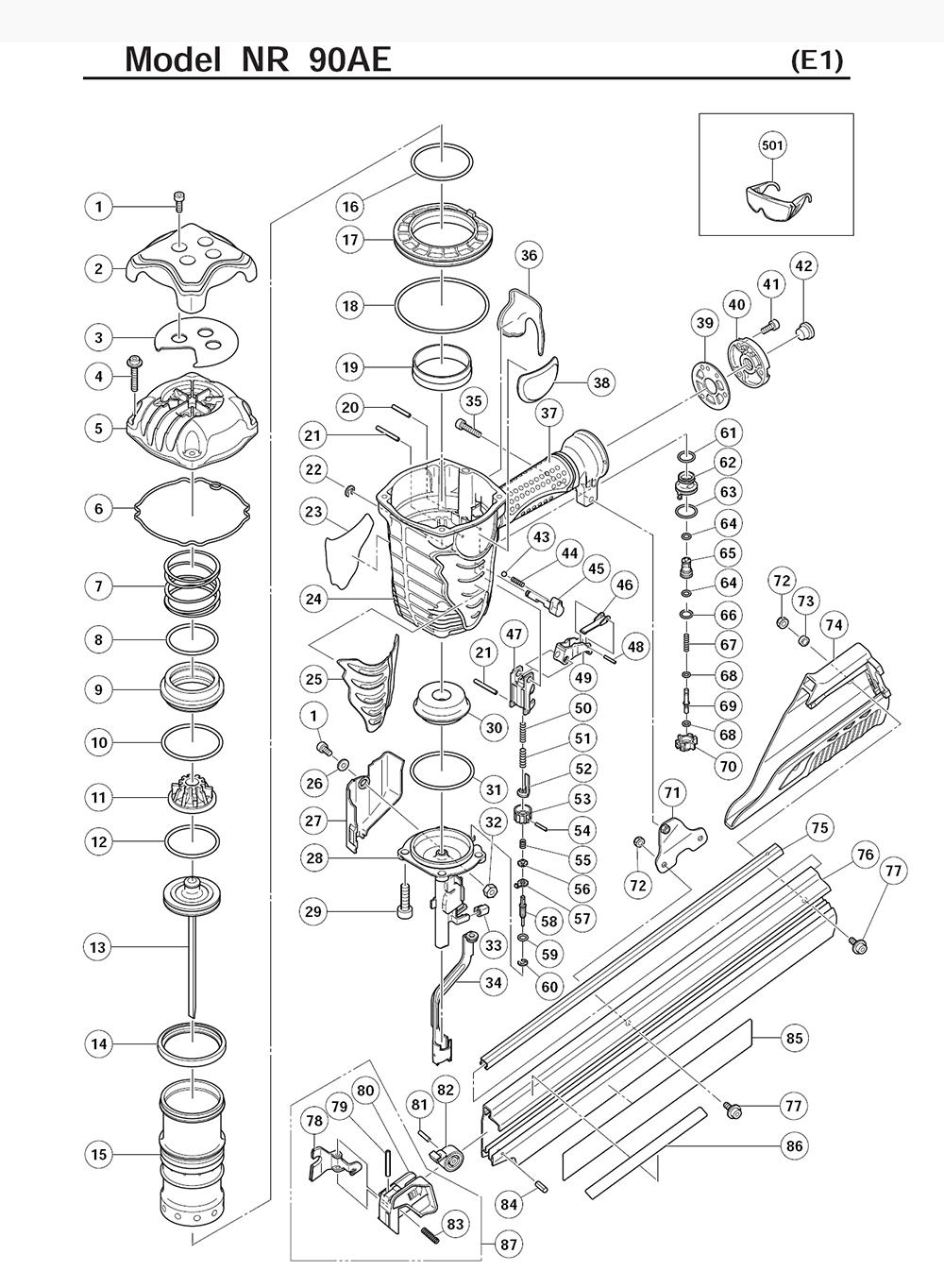 hitachi nr90ae parts schematic