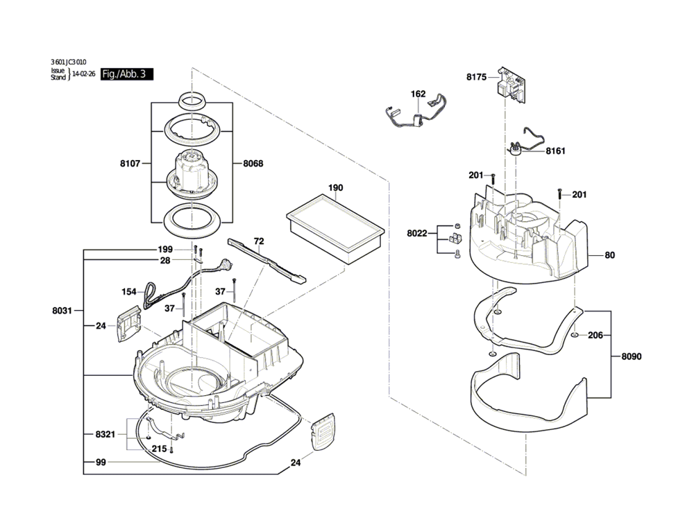 VAC090S-(3601JC3010)-Bosch-PB-2Break Down