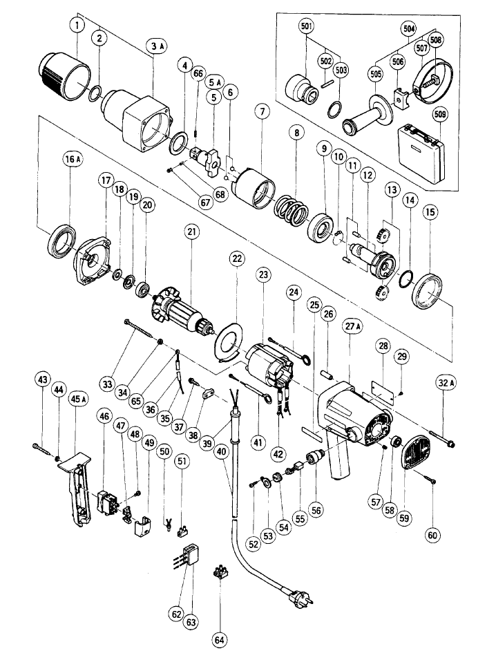 Parts | Hitachi WH22 Electric Impact Wrench & Driver Parts Diagram